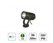 LED градински спот RGB 3W 220V пета