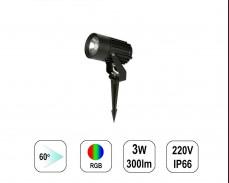 LED градински спот RGB 3W 220V колче