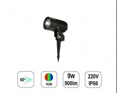 LED градински спот RGB 9W 220V колче