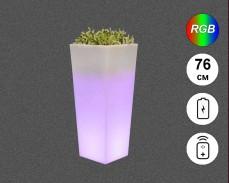 Светеща кашпа с RGB LED акумулатор и дистанционно IP65 76см