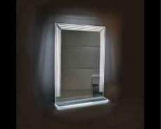 Светещо огледало със стъклен рафт за стена с LED 60х85см 220V 17W