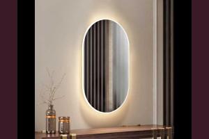 Светещо огледало за стена ЕЛИПС с LED 3/4/6000К 84х50см 220V 35W димируемо