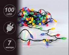 """Гирлянд """"светещи шишарки"""" 100 разноцветни LED с трансформатор 7 метра"""