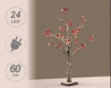 Светещо заскрежено дърво с Червени топчета с 24 ТОПЛО БЕЛИ LED 60 cm