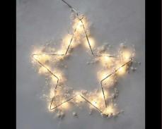 Светеща звезда с 20 топло бели микро LED с перлички 28см.