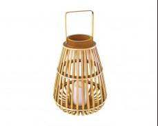 Декоративен бамбуков фенер STRUDEL с LED свещ на батерии 35см