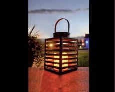 Декоративен метален фенер EBEKO с LED свещ на батерии 19см