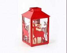 Декоративен червен фенер с LED свещ на батерии 21см