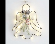 Светеща висяща декорация Ангел с 25 топло бели микро LED 30см.