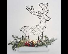 Светеща декорация Коледно еленче с 30 топло бели микро LED 30см.