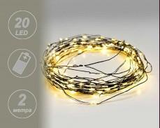 микро LED гирлянд 20 Топло Бели лампи 2м. на батерии 2032 с черна медна жица