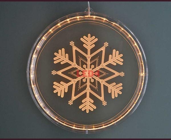 Гравирана светеща снежинка с LED осветление