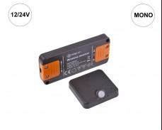 Комплект DELI SET - RF MONO приемник и PIR сензор за LED осветление 12/24V ЧЕРЕН