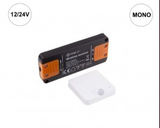 Комплект DELI SET - RF MONO приемник и PIR сензор за LED осветление 12/24V БЯЛ