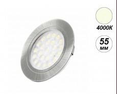 LED мебелна луна вкопан монтаж OVAL 4000К 2W 55мм кръг инокс