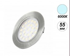 LED мебелна луна вкопан монтаж OVAL 6000К 2W 55мм кръг инокс