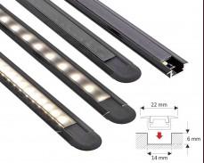 Черен алуминиев профил In - Line Mini за LED лента с вкопан монтаж 22х7мм