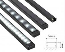 Черен алуминиев профил Line Mini за LED лента открит монтаж 14х7мм