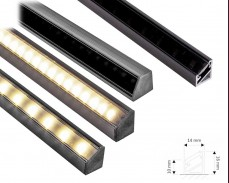 Черен алуминиев профил Tri - Line Mini за LED лента с ъглов монтаж 14х16мм
