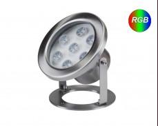 Водоустойчива многоцветна RGB LED лампа за водни басейни 12V 6W INOX IP68