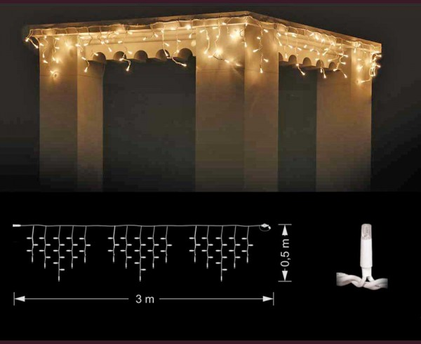Професионални висящи 114 ТОПЛО БЕЛИ led лампи 3м влагоустойчиви с бял кабел