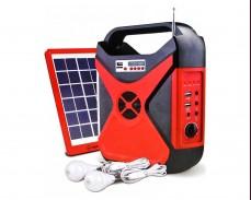 Мултимедиен радио LED фенер с акумулатор USB SD карта и соларен панел