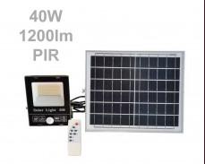 Соларен панел и LED прожектор с датчик и дистанционно 40W 1200lm IP65