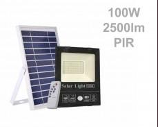 Соларен панел и LED прожектор с датчик и дистанционно 100W 2500lm