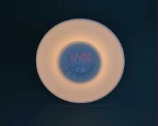 Лампа светещ радио часовник с ефект изгрев и RGBW LED
