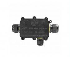 Водоустойчива разклонителна кутия за три кабела Ф9 24А 450V IP68 черна
