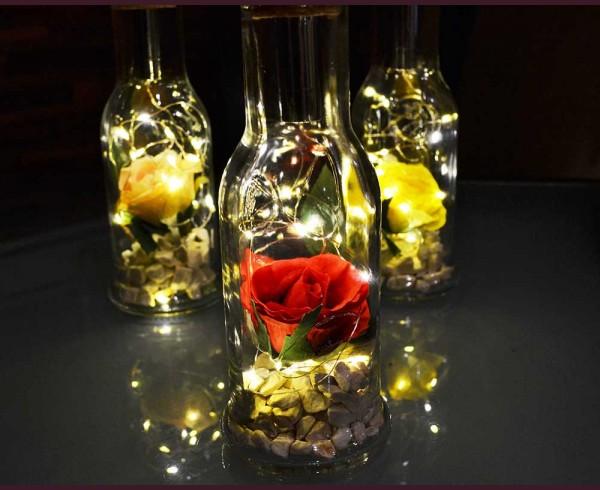 Светеща декорация Роза в Бутилка на батерии