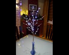 Клонка светеща блестяща с кристали и LED лампи на батерии