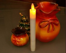 Тънка восъчна свещ с LED 20см