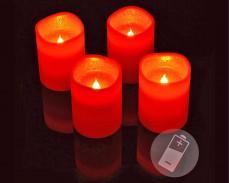 4 восъчни ЧЕРВЕНИ LED свещи 10см