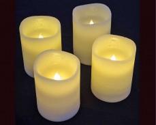 4 восъчни БЕЛИ LED свещи 10см