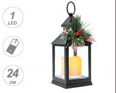 Декоративен фенер с LED свещ на батерии 24см