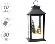 Декоративен фенер с ЕЛХИ, СНЯГ и LED лампички на батерии 30см