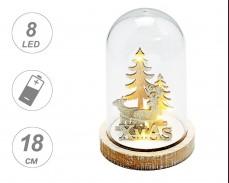Светеща коледна декорация ЕЛХИ И ЕЛЕНИ 8 LED на батерии 18см