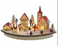 Светеща декорация КОЛЕДЕН ГРАД с 10 топло бели LED на батерии