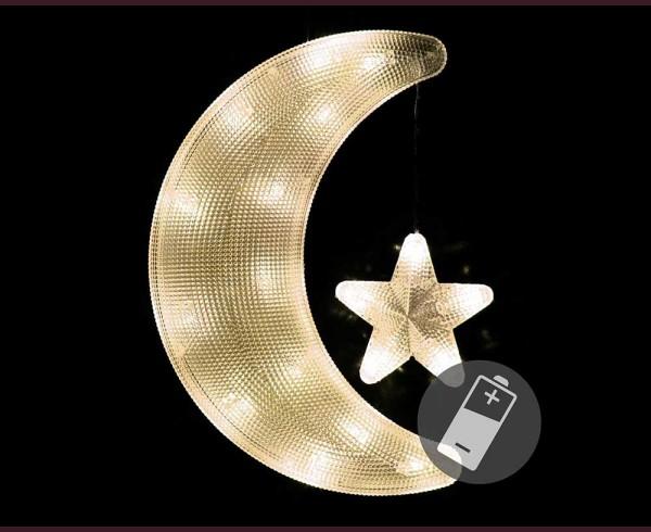 Светещи Луна и звезда 18 ТОПЛО БЕЛИ led с батерии