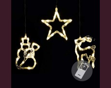 Светещи Звезда, Елха и Снежен човек, кристални, 45 ТОПЛО БЕЛИ led на батерии