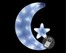 Светещи Луна и звезда 18 БЕЛИ led с батерии