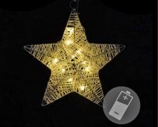 """Светеща """"Коледна звезда"""" 10 ТОПЛО БЕЛИ led с батерии"""