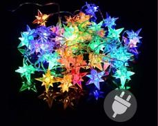 Гирлянд 3D звезди 40 МНОГОЦВЕТНИ led лампи с траф 14м