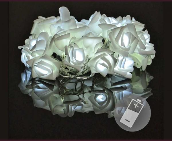 """Гирлянд """"Бели рози"""" 20 БЕЛИ led с батерии 2,4м"""