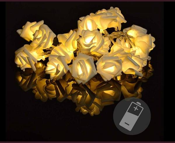 """Гирлянд """"Бели рози"""" 20 ТОПЛО БЕЛИ led с батерии 2,4м"""