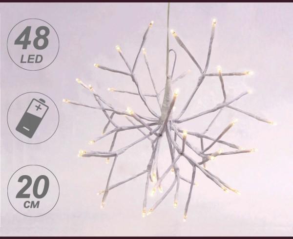 Светещи ВИСЯЩИ КЛОНКИ с 48 топло бели LED на батерии 20 см.