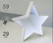 Светеща ЗВЕЗДА с БЕЗКРАЙНО ОГЛЕДАЛО 59 студено бели LED на батерии 29 см.