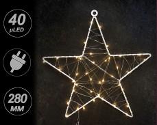 Светеща звезда с 40 топло бели микро LED 28см.