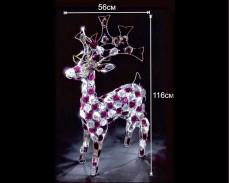 Светеща фигура ЕЛЕН от двуцветен акрил и LED лампички, СТУДЕНО БЯЛ 116х56 см.